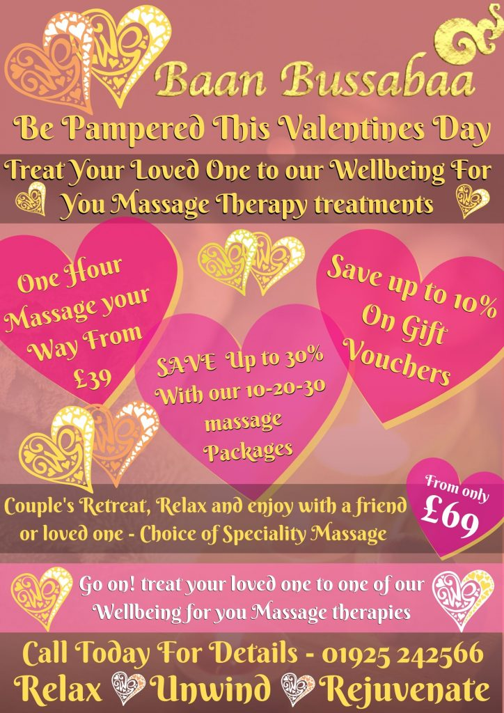 Valentines Day gift packages thai massage warrington